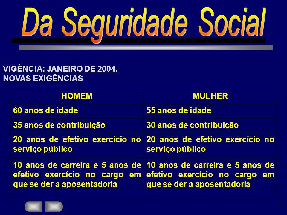Da Seguridade Social VIGÊNCIA: JANEIRO DE 2004. NOVAS EXIGÊNCIAS HOMEM