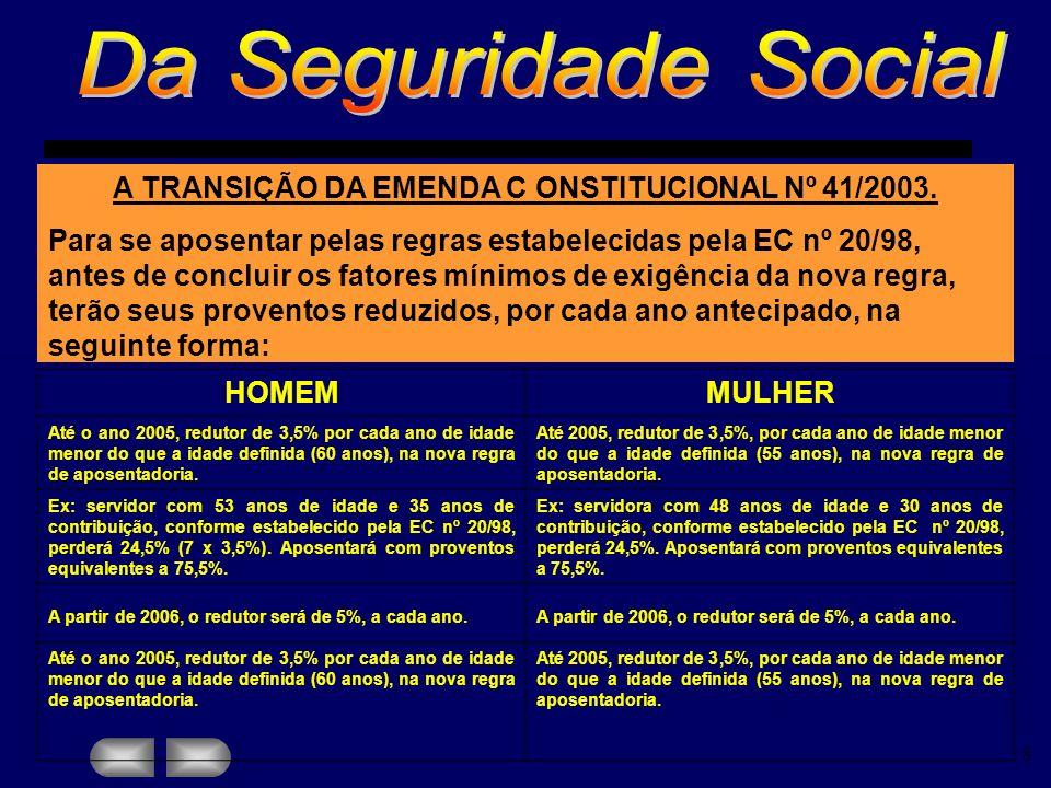 A TRANSIÇÃO DA EMENDA C ONSTITUCIONAL Nº 41/2003.