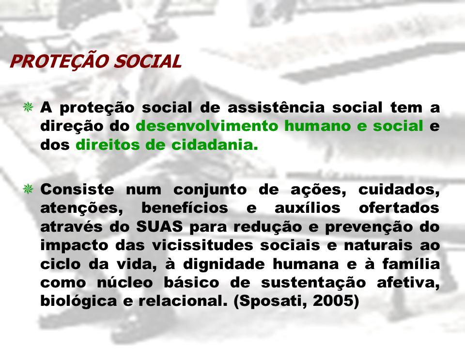PROTEÇÃO SOCIAL A proteção social de assistência social tem a direção do desenvolvimento humano e social e dos direitos de cidadania.