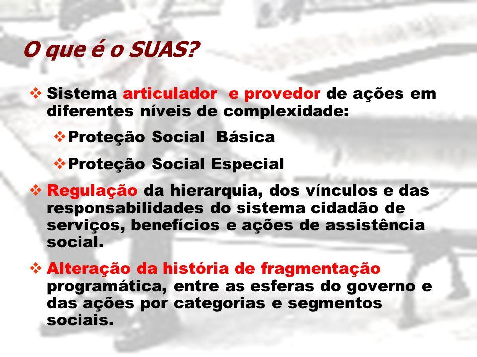 O que é o SUAS Sistema articulador e provedor de ações em diferentes níveis de complexidade: Proteção Social Básica.