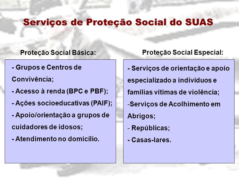 Serviços de Proteção Social do SUAS