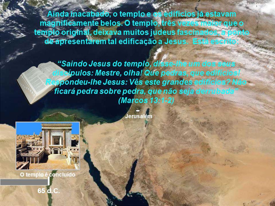 Ainda inacabado, o templo e os edifícios já estavam magnificamente belos. O templo, três vezes maior que o templo original, deixava muitos judeus fascinados, a ponto de apresentarem tal edificação a Jesus. Está escrito: