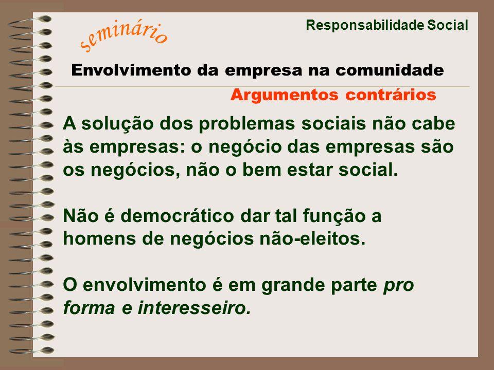 seminário A solução dos problemas sociais não cabe