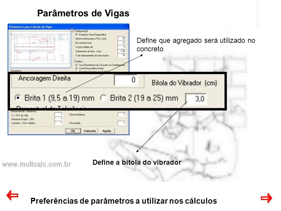 Parâmetros de Vigas Preferências de parâmetros a utilizar nos cálculos