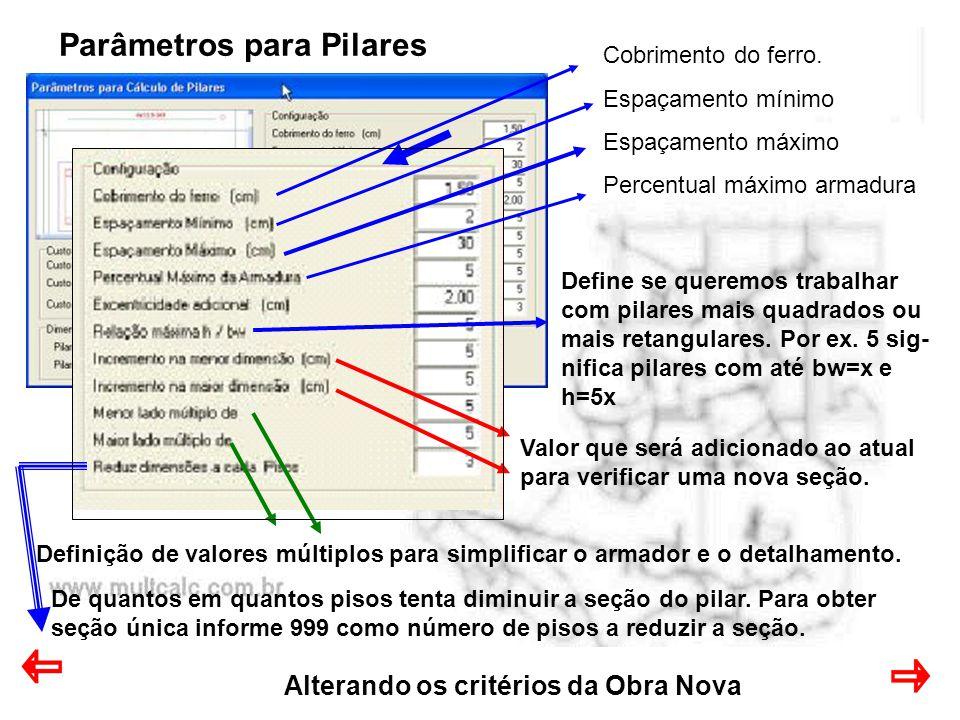 Parâmetros para Pilares