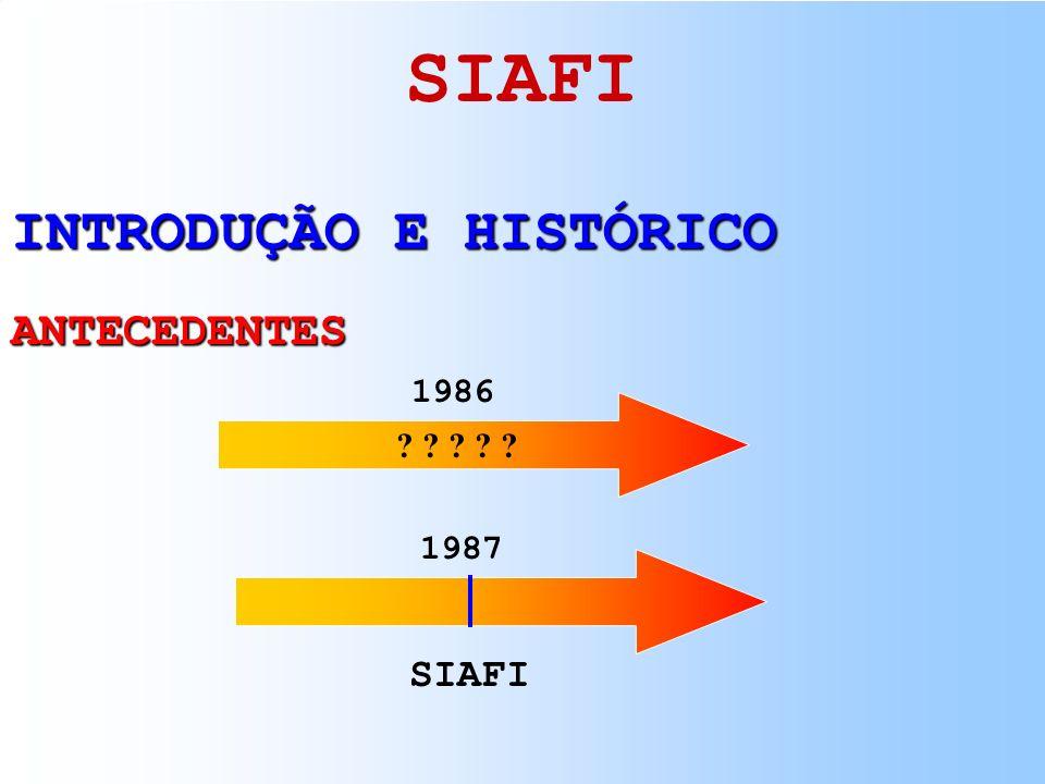 SIAFI INTRODUÇÃO E HISTÓRICO ANTECEDENTES 1986 1987 SIAFI