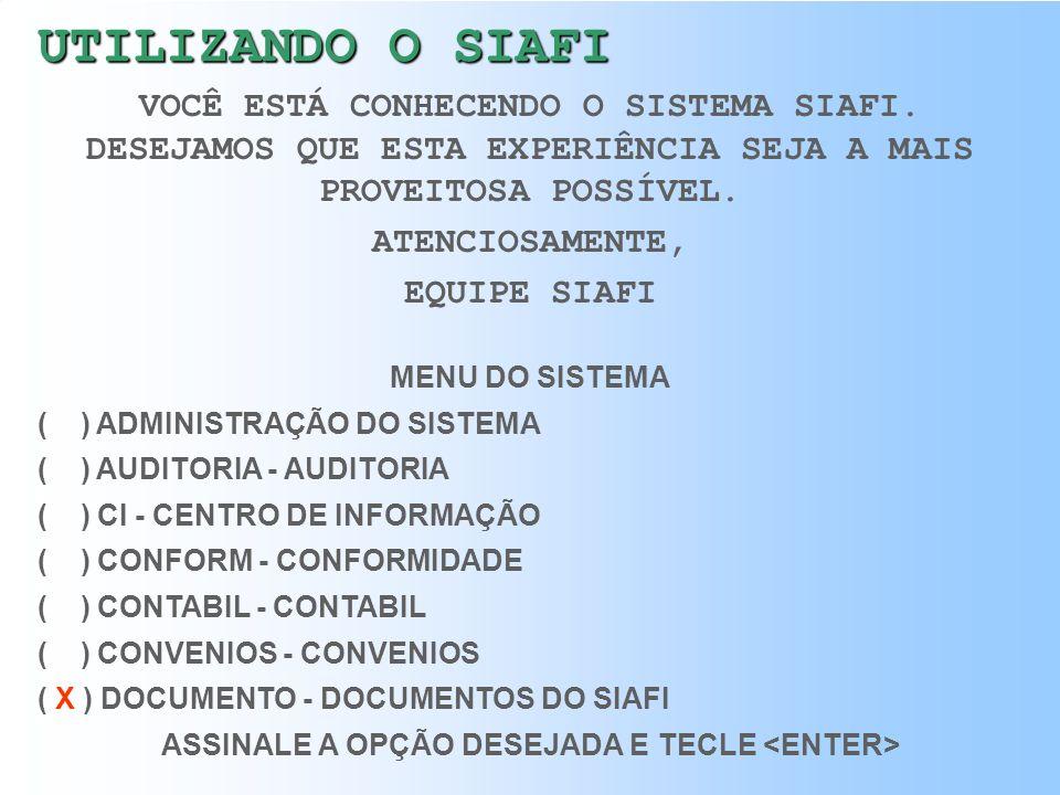 ASSINALE A OPÇÃO DESEJADA E TECLE <ENTER>