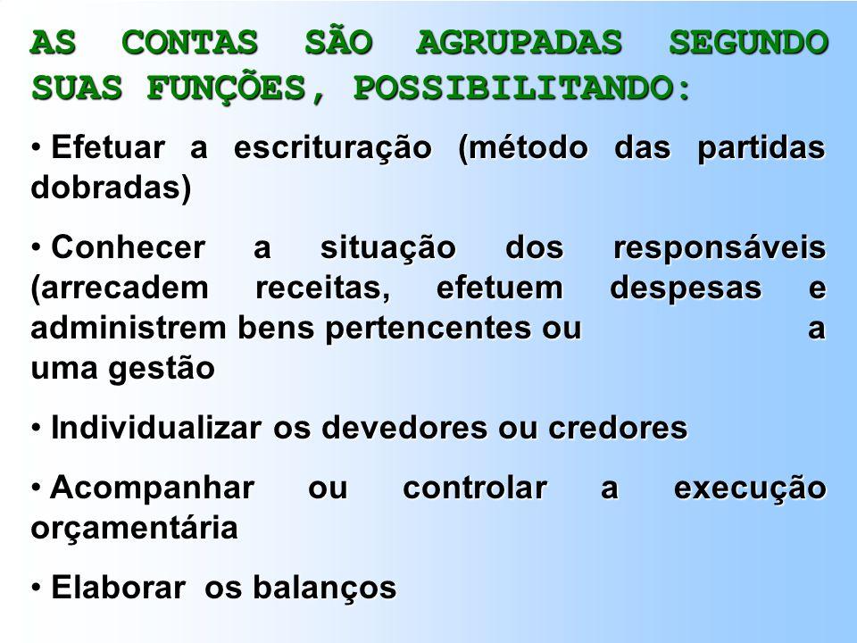 AS CONTAS SÃO AGRUPADAS SEGUNDO SUAS FUNÇÕES, POSSIBILITANDO: