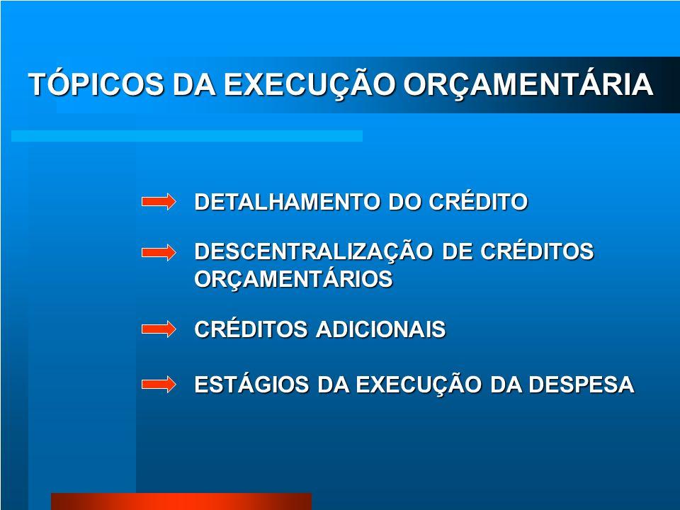 TÓPICOS DA EXECUÇÃO ORÇAMENTÁRIA