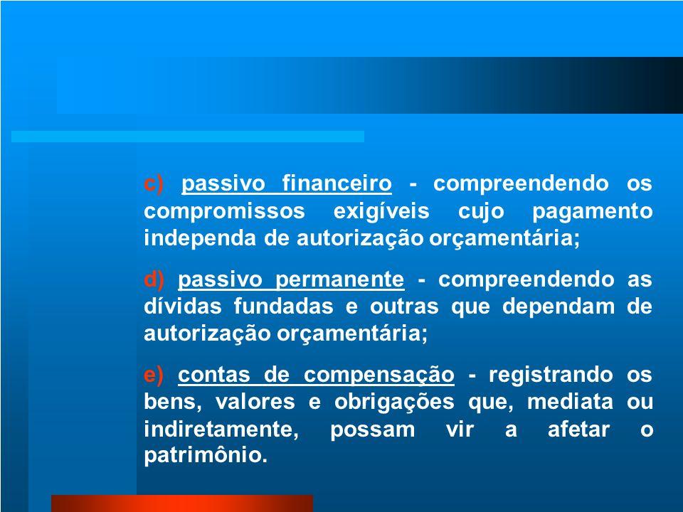 c) passivo financeiro - compreendendo os compromissos exigíveis cujo pagamento independa de autorização orçamentária;