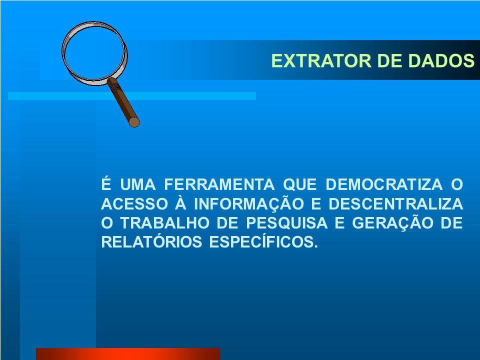 EXTRATOR DE DADOS É UMA FERRAMENTA QUE DEMOCRATIZA O ACESSO À INFORMAÇÃO E DESCENTRALIZA O TRABALHO DE PESQUISA E GERAÇÃO DE RELATÓRIOS ESPECÍFICOS.