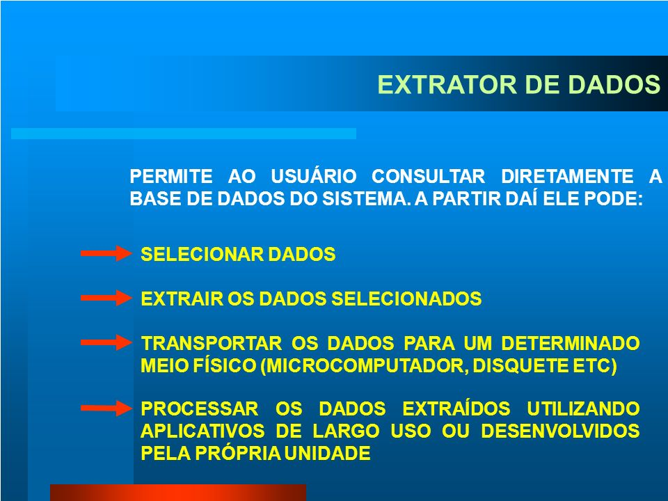 EXTRATOR DE DADOSPERMITE AO USUÁRIO CONSULTAR DIRETAMENTE A BASE DE DADOS DO SISTEMA. A PARTIR DAÍ ELE PODE: