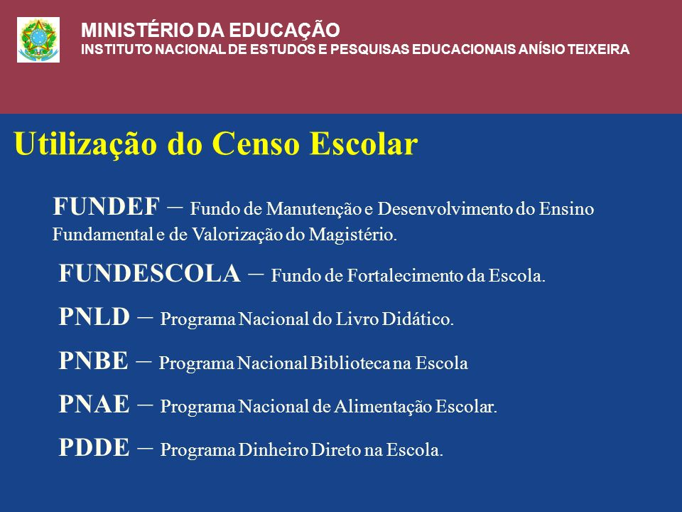 Utilização do Censo Escolar