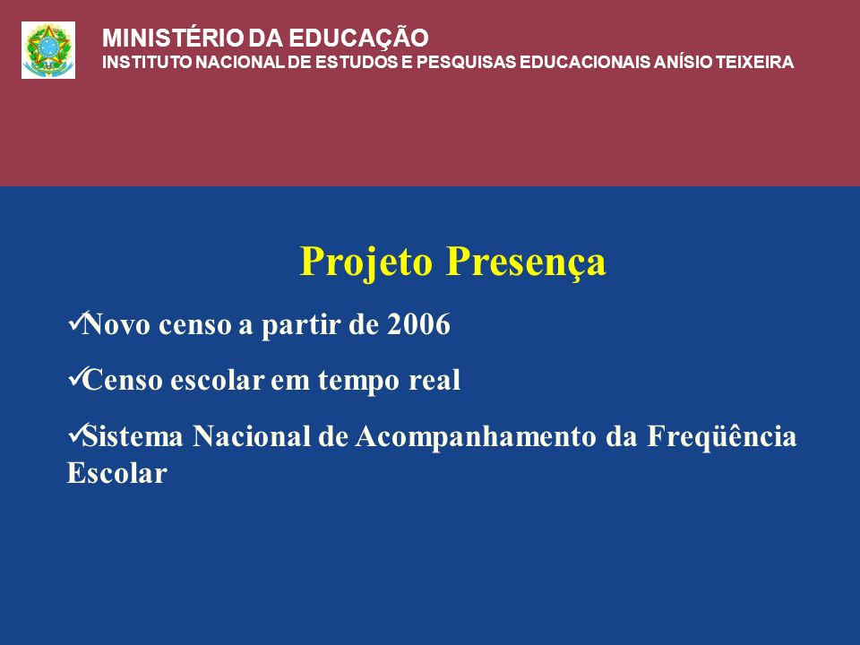 Projeto Presença Novo censo a partir de 2006