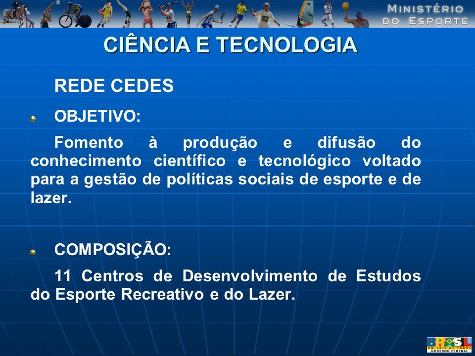 CIÊNCIA E TECNOLOGIA REDE CEDES OBJETIVO: