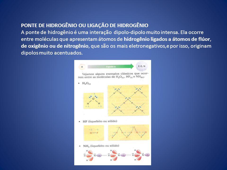 PONTE DE HIDROGÊNIO OU LIGAÇÃO DE HIDROGÊNIO