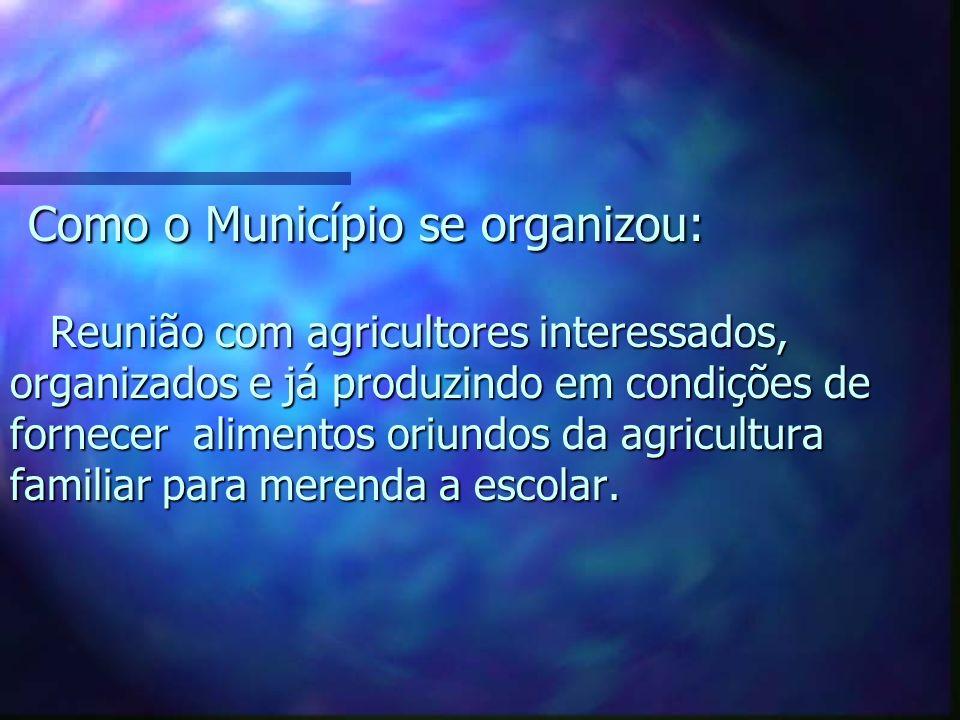Como o Município se organizou: Reunião com agricultores interessados, organizados e já produzindo em condições de fornecer alimentos oriundos da agricultura familiar para merenda a escolar.