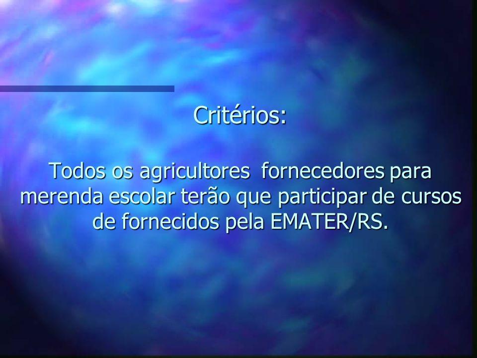 Critérios: Todos os agricultores fornecedores para merenda escolar terão que participar de cursos de fornecidos pela EMATER/RS.