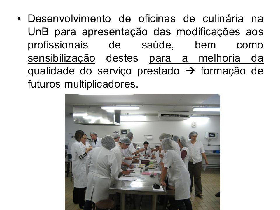 Desenvolvimento de oficinas de culinária na UnB para apresentação das modificações aos profissionais de saúde, bem como sensibilização destes para a melhoria da qualidade do serviço prestado  formação de futuros multiplicadores.