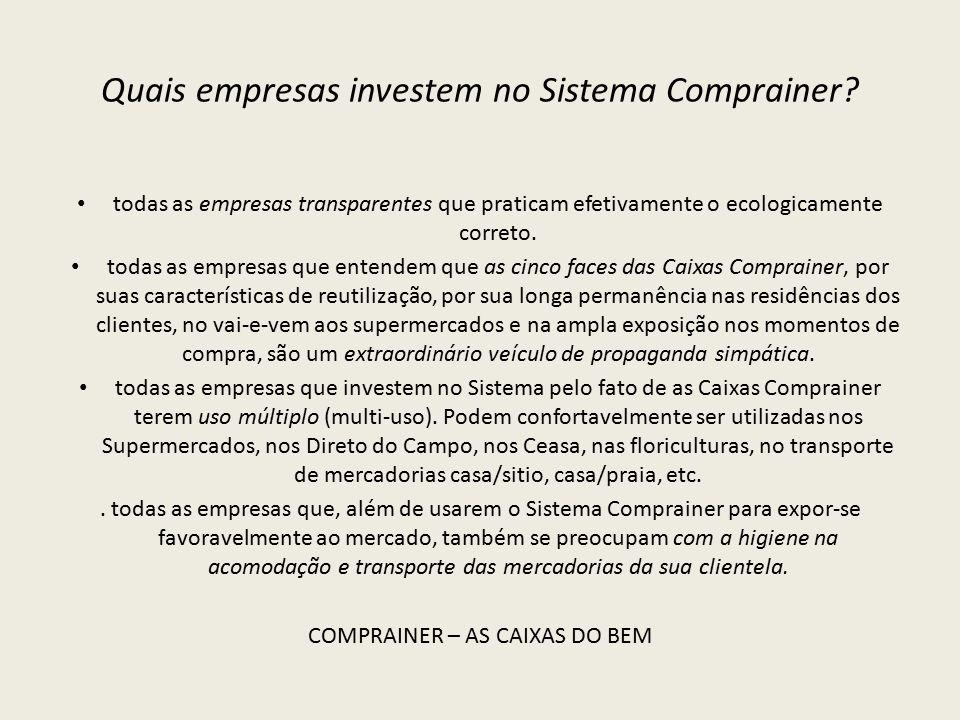 Quais empresas investem no Sistema Comprainer