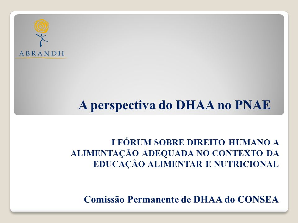 A perspectiva do DHAA no PNAE