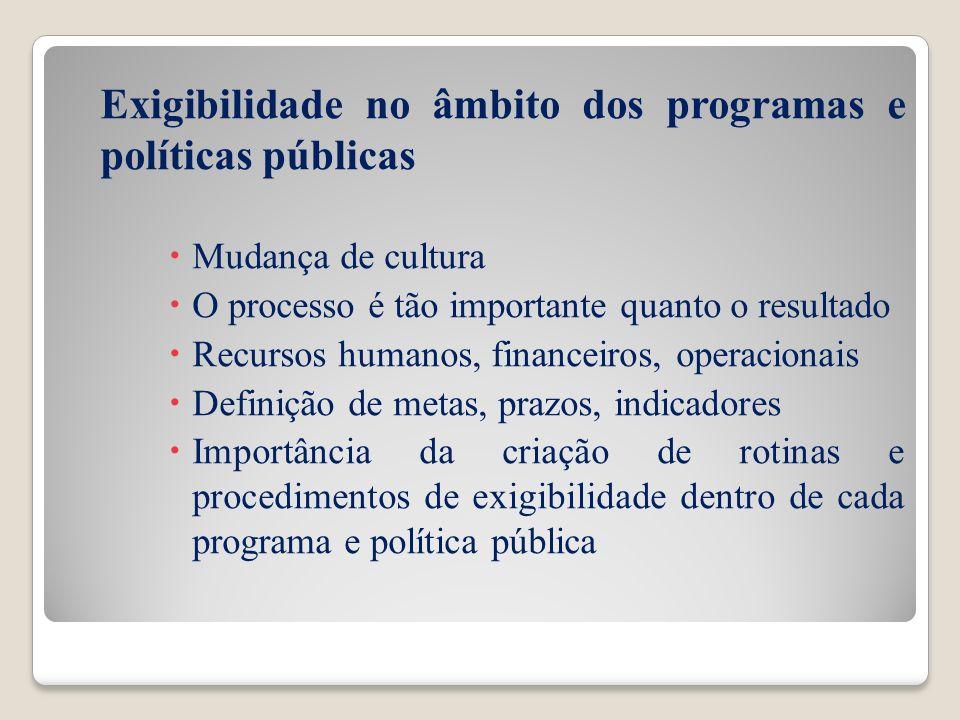 Exigibilidade no âmbito dos programas e políticas públicas