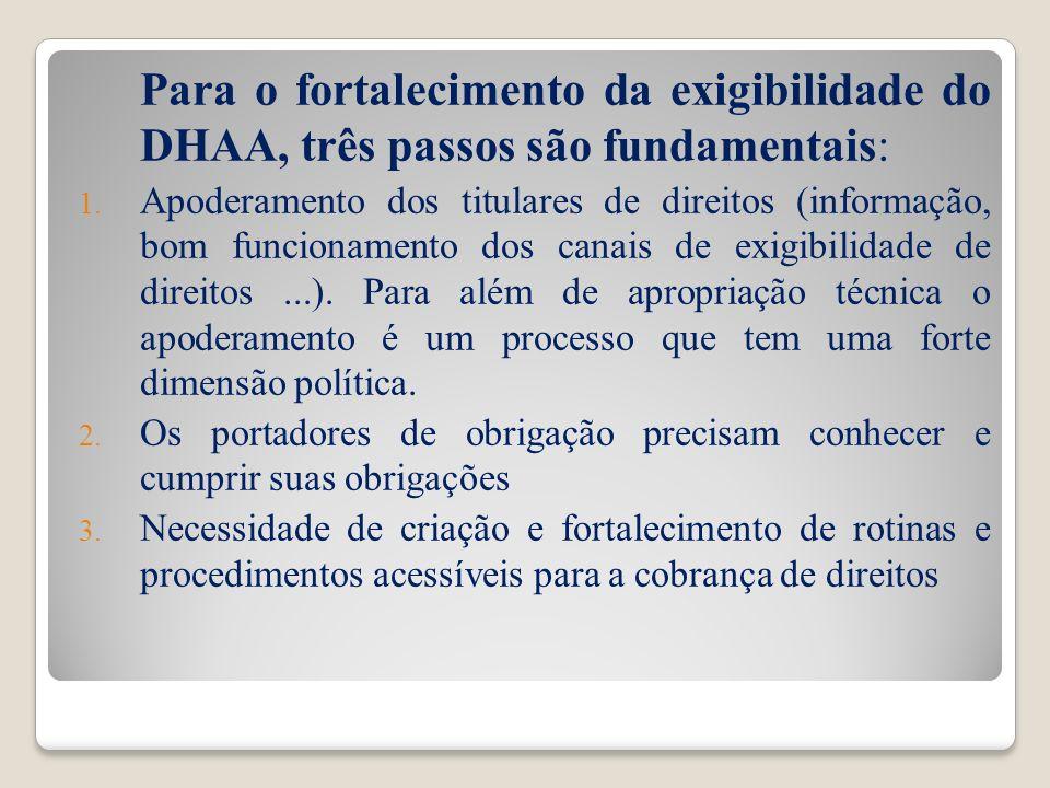 Para o fortalecimento da exigibilidade do DHAA, três passos são fundamentais: