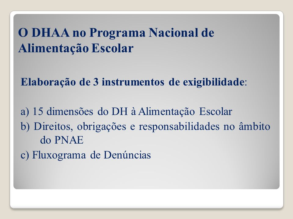 O DHAA no Programa Nacional de Alimentação Escolar