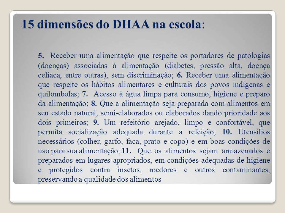 15 dimensões do DHAA na escola: