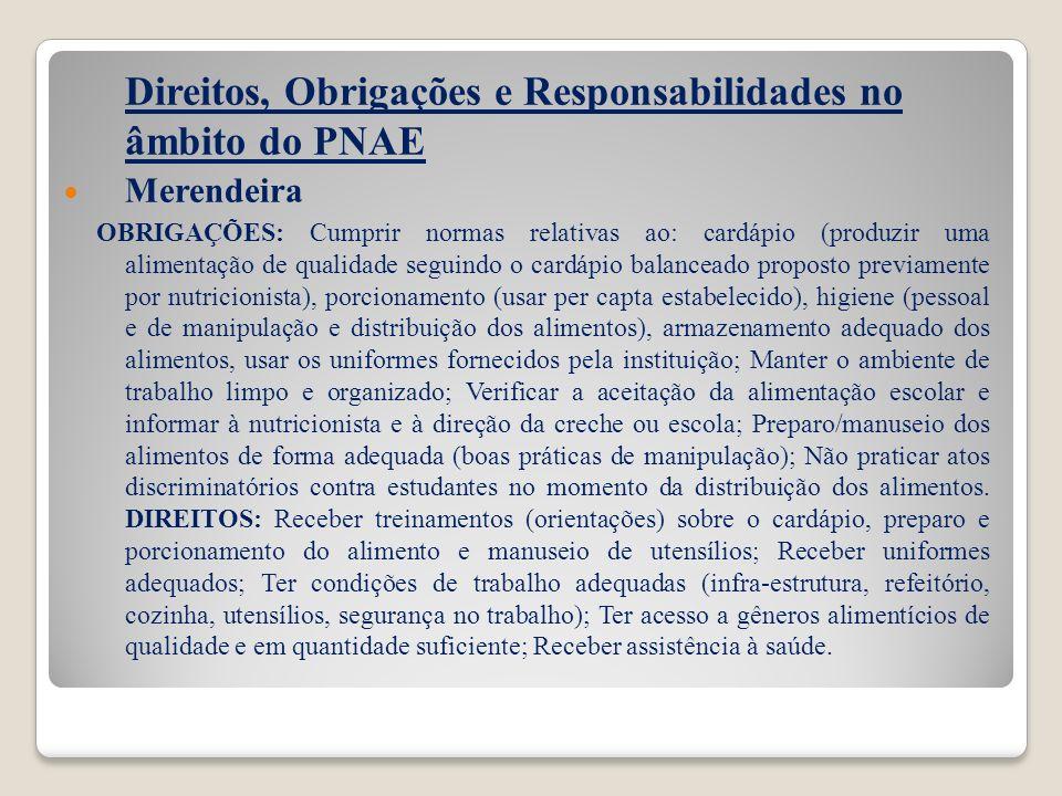 Direitos, Obrigações e Responsabilidades no âmbito do PNAE