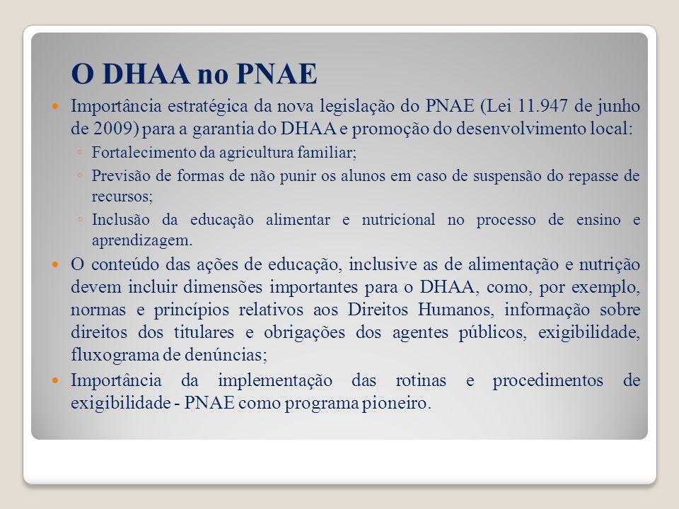O DHAA no PNAE