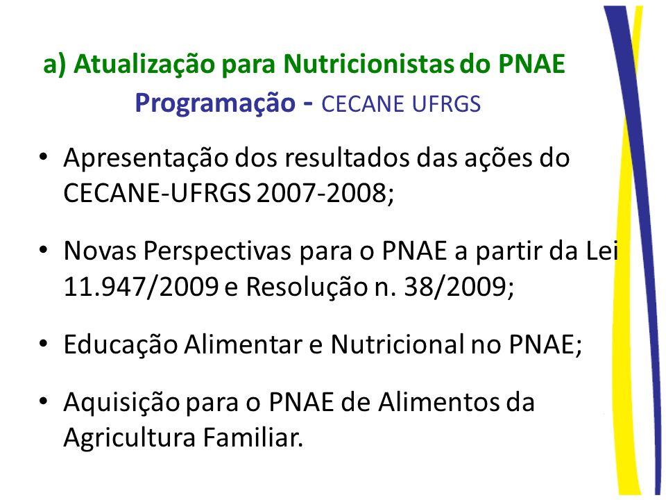 a) Atualização para Nutricionistas do PNAE Programação - CECANE UFRGS