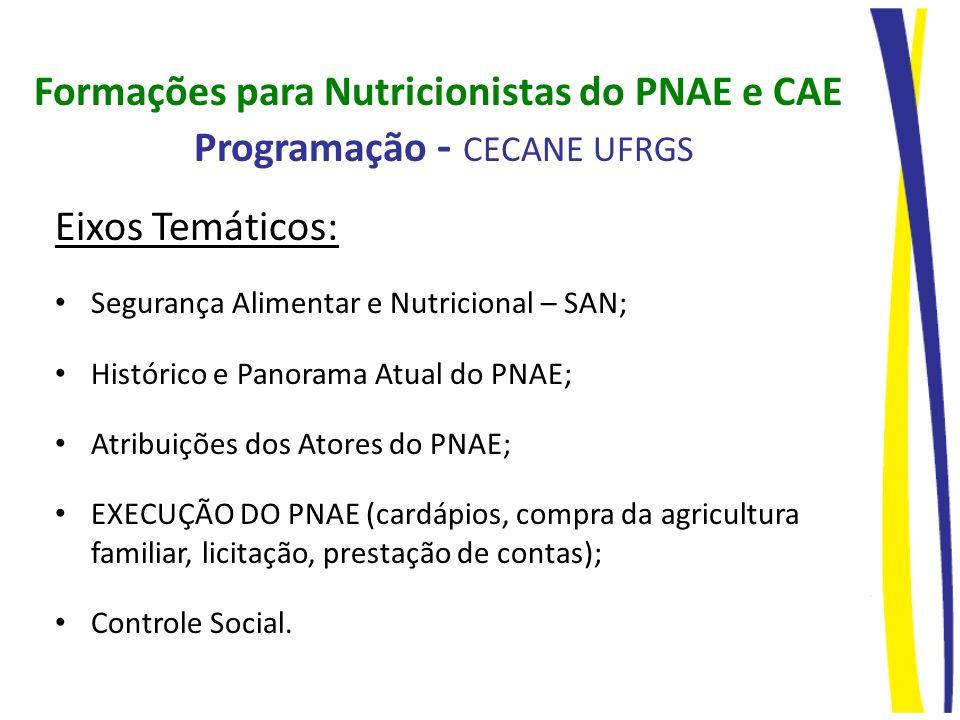 Formações para Nutricionistas do PNAE e CAE Programação - CECANE UFRGS
