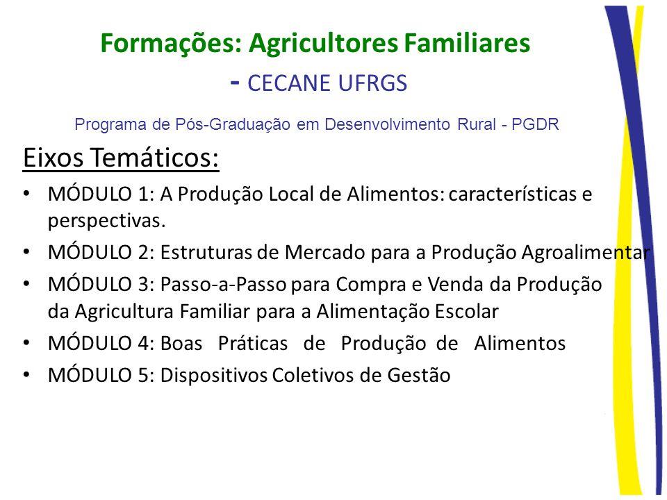 Formações: Agricultores Familiares - CECANE UFRGS