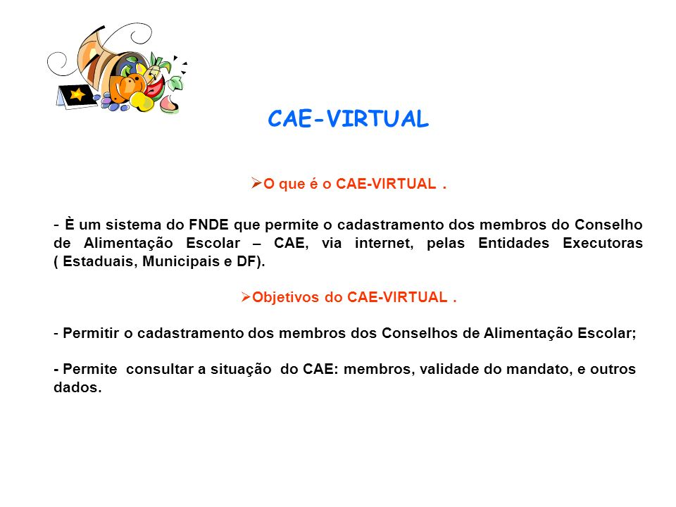 Objetivos do CAE-VIRTUAL .