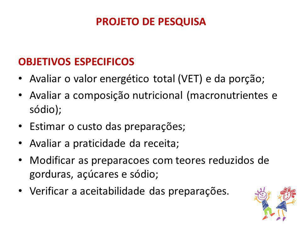 PROJETO DE PESQUISA OBJETIVOS ESPECIFICOS. Avaliar o valor energético total (VET) e da porção;