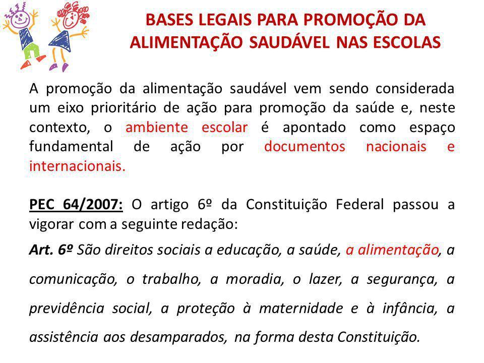 BASES LEGAIS PARA PROMOÇÃO DA ALIMENTAÇÃO SAUDÁVEL NAS ESCOLAS