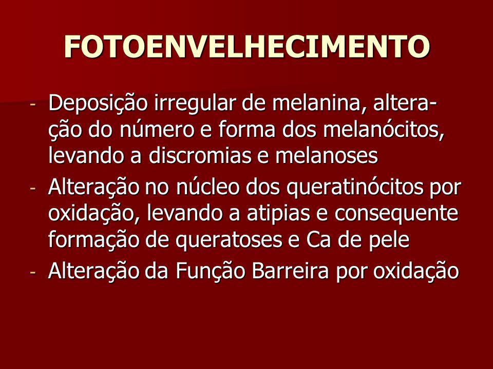 FOTOENVELHECIMENTO Deposição irregular de melanina, altera-ção do número e forma dos melanócitos, levando a discromias e melanoses.