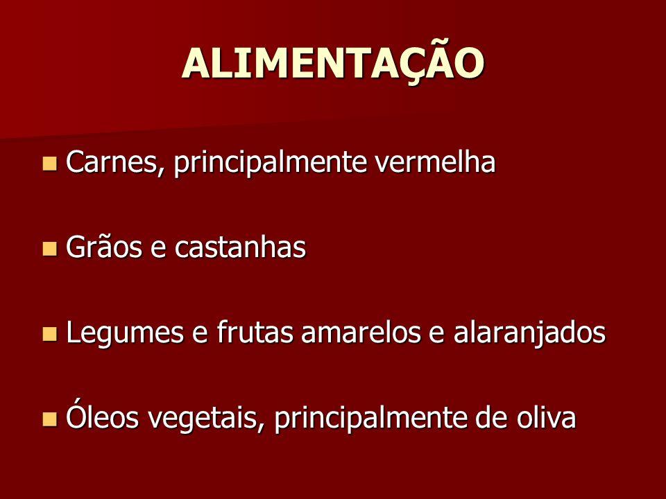 ALIMENTAÇÃO Carnes, principalmente vermelha Grãos e castanhas