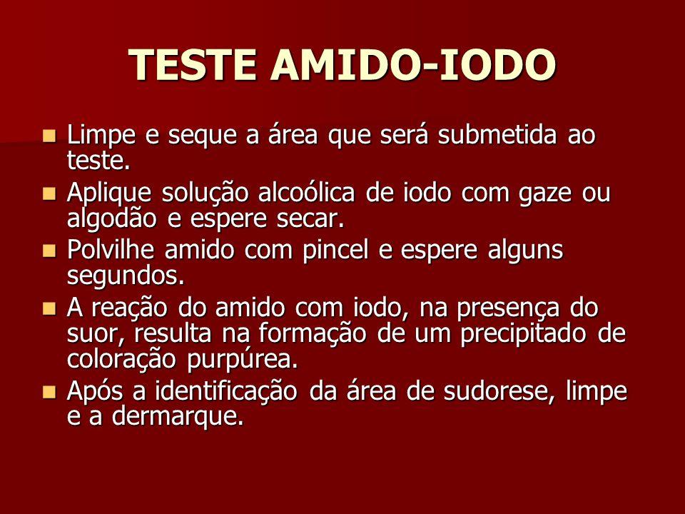 TESTE AMIDO-IODO Limpe e seque a área que será submetida ao teste.