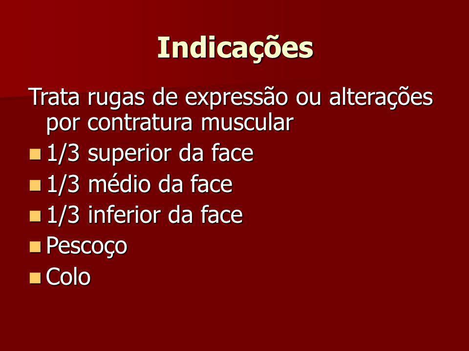 Indicações Trata rugas de expressão ou alterações por contratura muscular. 1/3 superior da face. 1/3 médio da face.