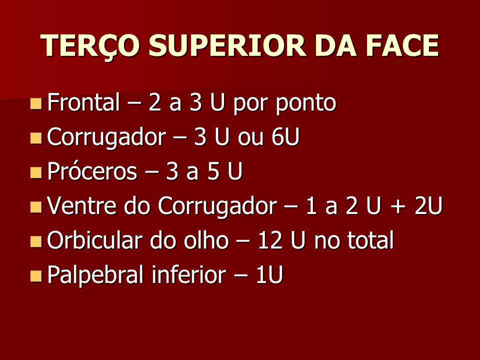 TERÇO SUPERIOR DA FACE Frontal – 2 a 3 U por ponto