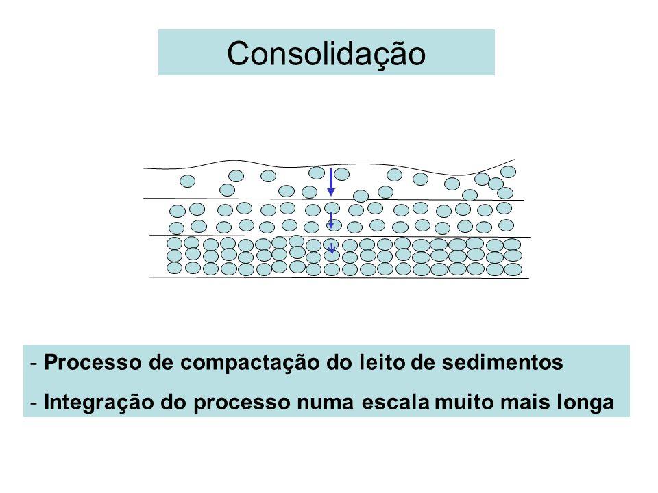 Consolidação Processo de compactação do leito de sedimentos