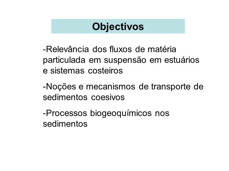 Objectivos Relevância dos fluxos de matéria particulada em suspensão em estuários e sistemas costeiros.