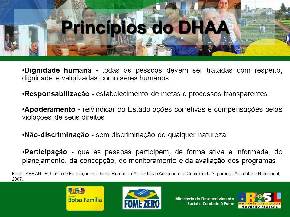 Princípios do DHAA Dignidade humana - todas as pessoas devem ser tratadas com respeito, dignidade e valorizadas como seres humanos.