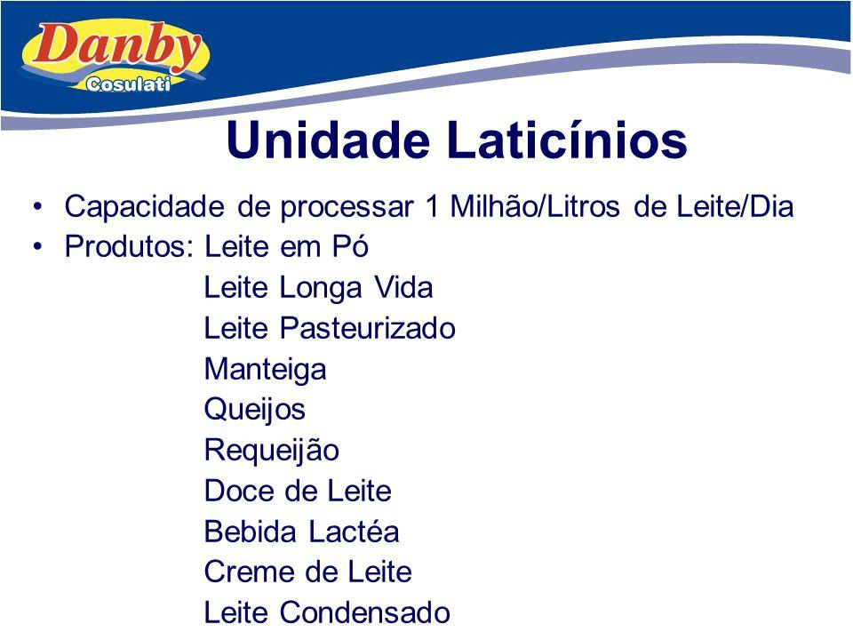 Unidade Laticínios Capacidade de processar 1 Milhão/Litros de Leite/Dia. Produtos: Leite em Pó. Leite Longa Vida.