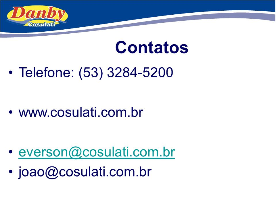 Contatos Telefone: (53) 3284-5200 www.cosulati.com.br