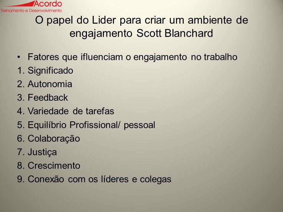 O papel do Lider para criar um ambiente de engajamento Scott Blanchard
