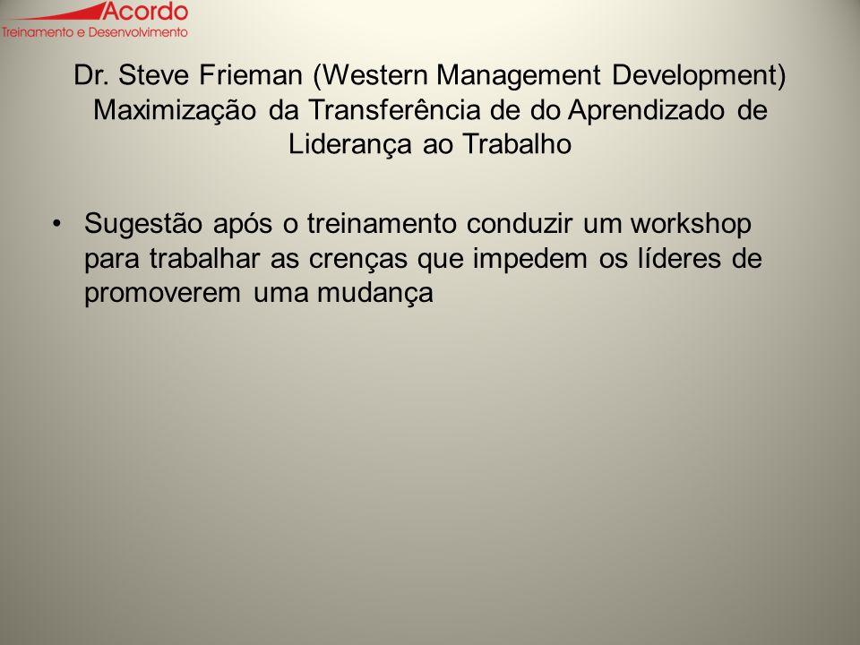 Dr. Steve Frieman (Western Management Development) Maximização da Transferência de do Aprendizado de Liderança ao Trabalho
