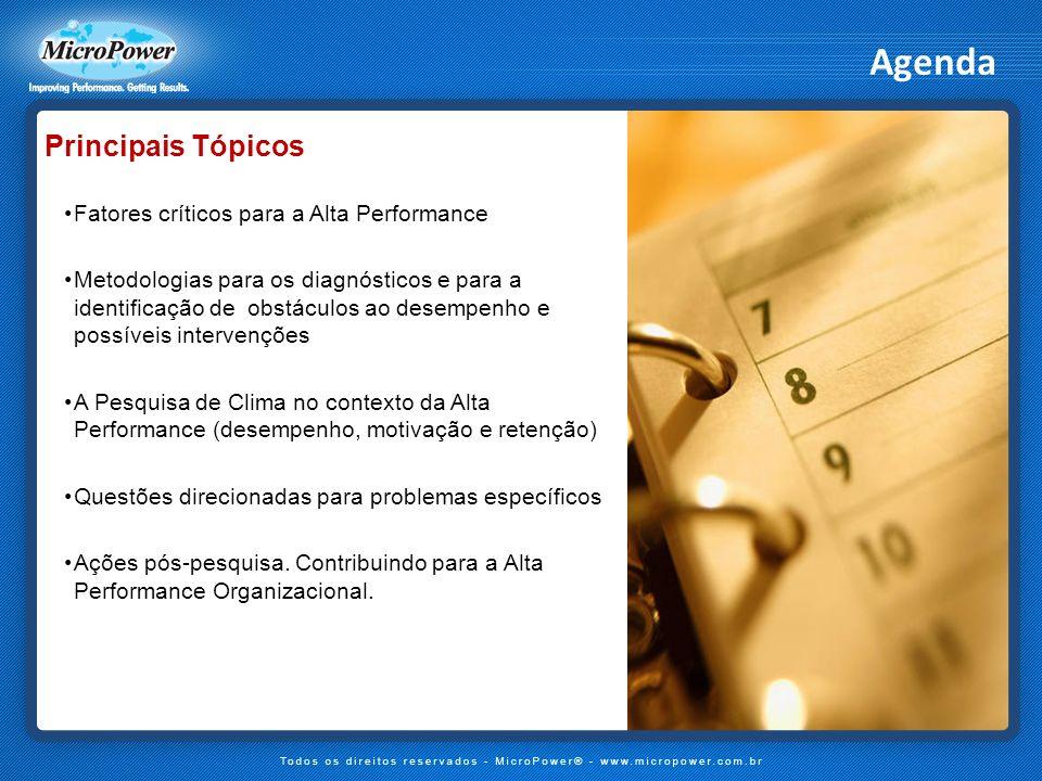 Agenda Principais Tópicos Fatores críticos para a Alta Performance